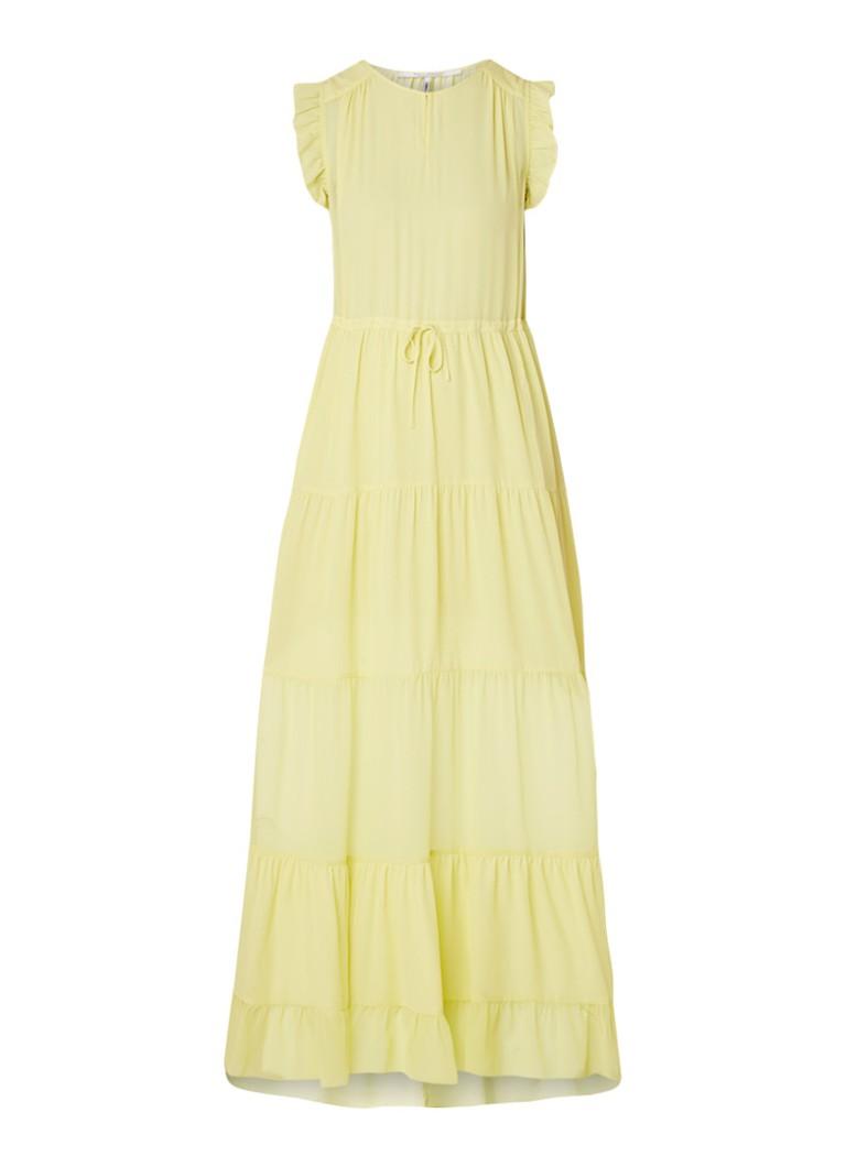 Scotch & Soda A-lijn maxi-jurk met strokenrok en trekkoord citroengeel