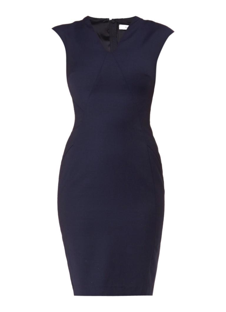 Reiss Indi wollen jurk met sierstiksels donkerblauw