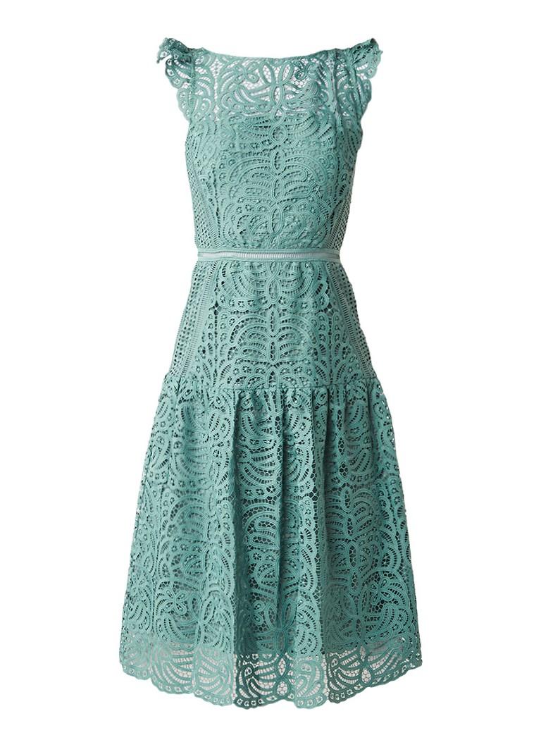 Reiss Paloma A-lijn jurk van kant lichtgroen