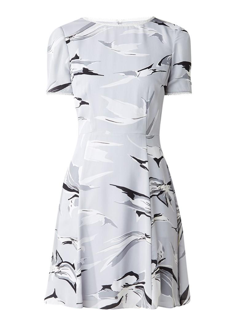 Reiss Bronte A-lijn jurk van zijde met dessin lichtgrijs
