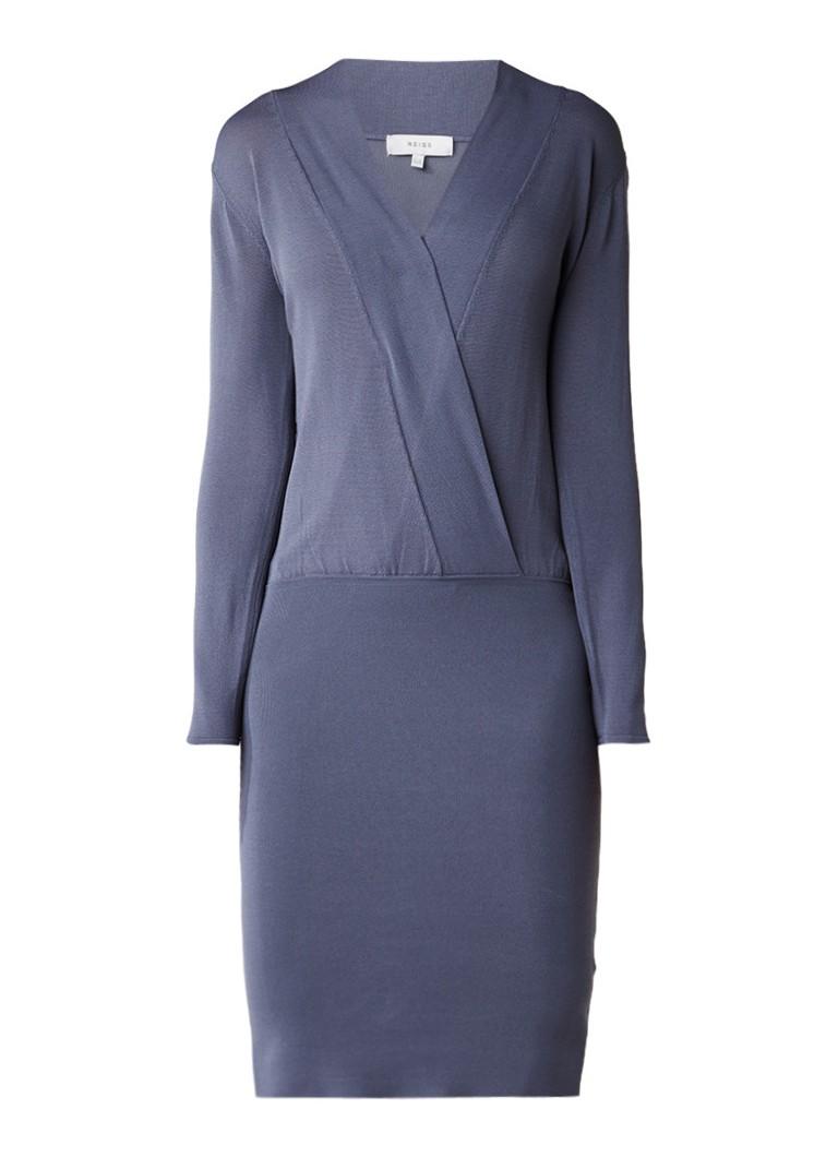 Reiss Lisbeth fijngebreide jurk met overslag blauwgrijs