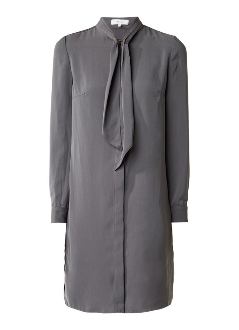 Reiss Hue blousejurk met strikkraag donkergroen