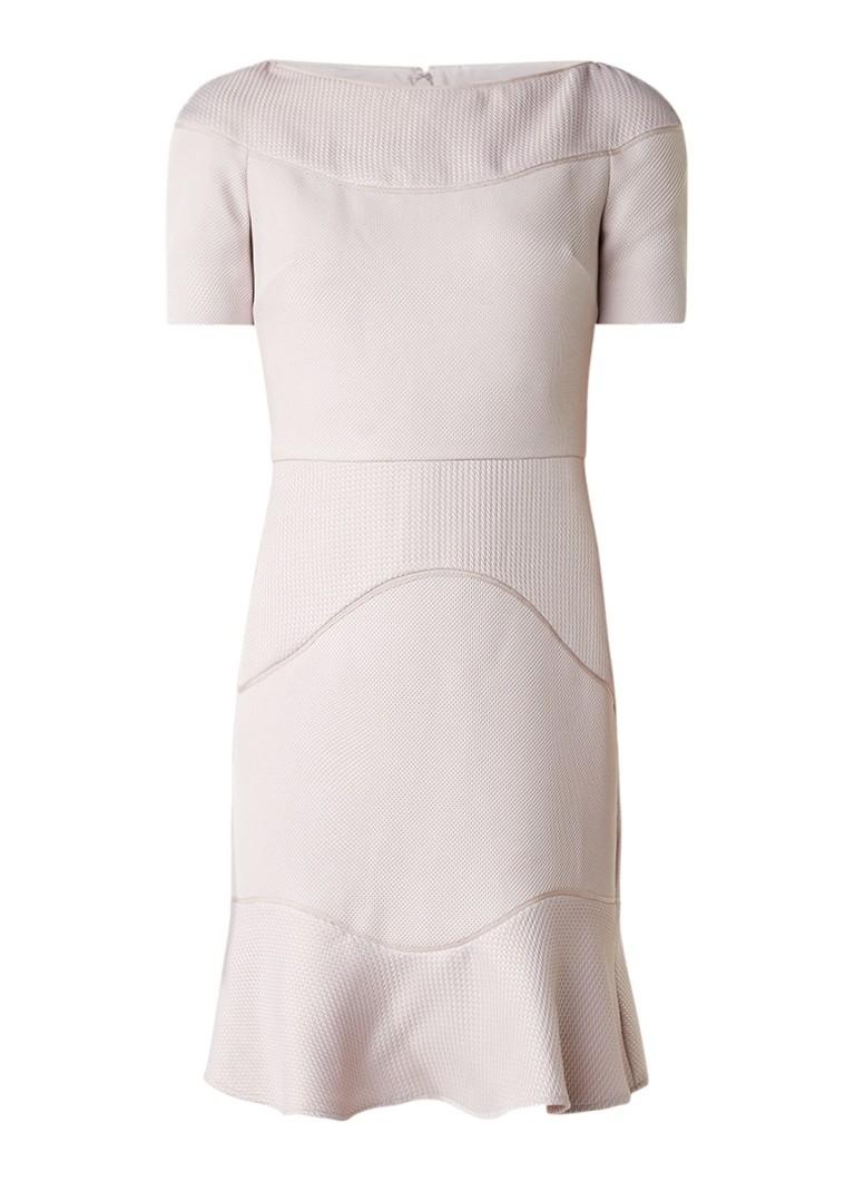 Reiss Hazel jurk met ingeweven structuur en volant oudroze