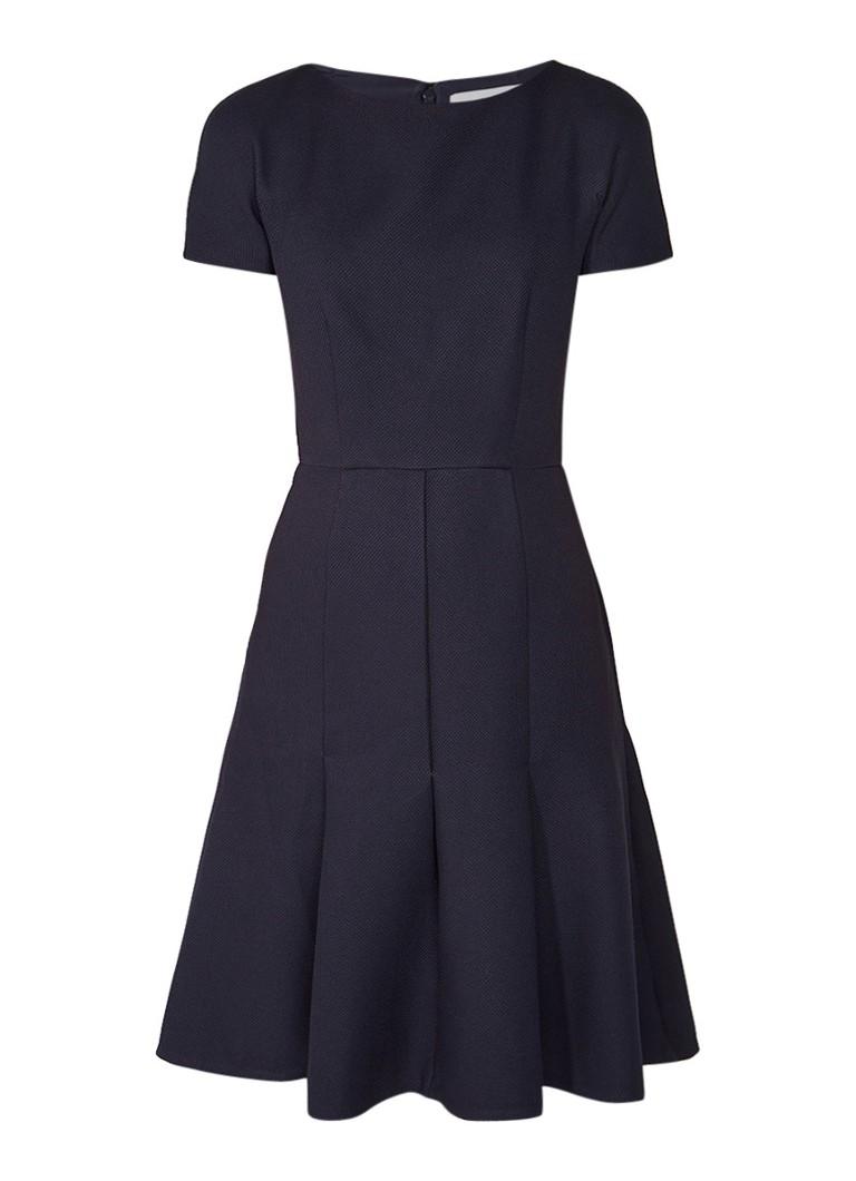 Reiss Hazar A-lijn jurk met ingeweven structuur donkerblauw