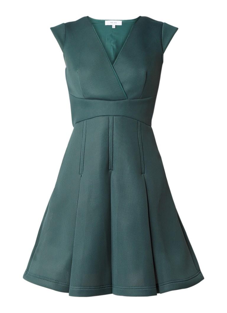 Reiss Riviera A-lijn jurk van neopreen en mesh donkergroen