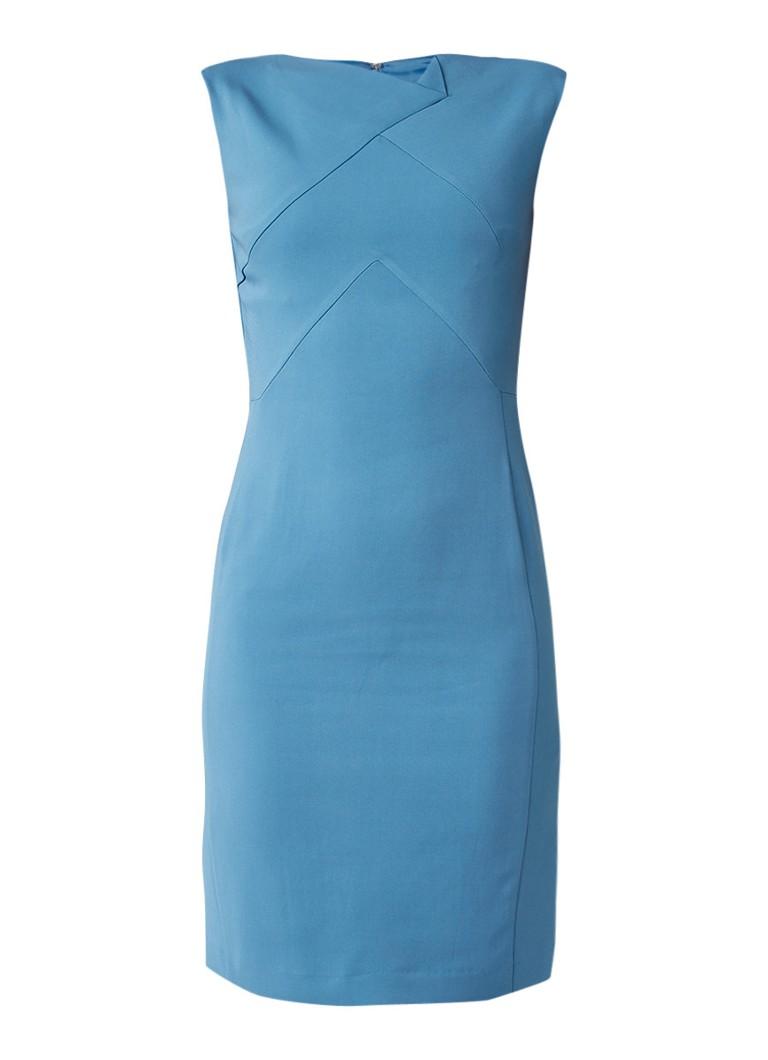 Reiss Aiken kokerjurk met asymmetrische halslijn turquoise