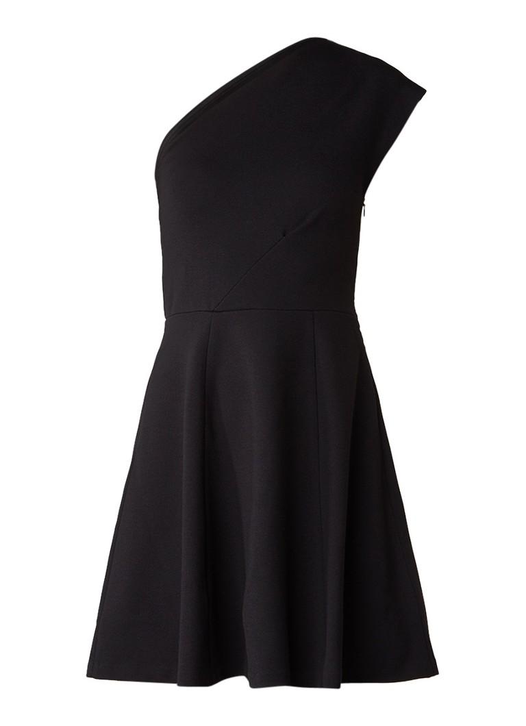 Reiss Keria one shoulder A-lijn jurk zwart
