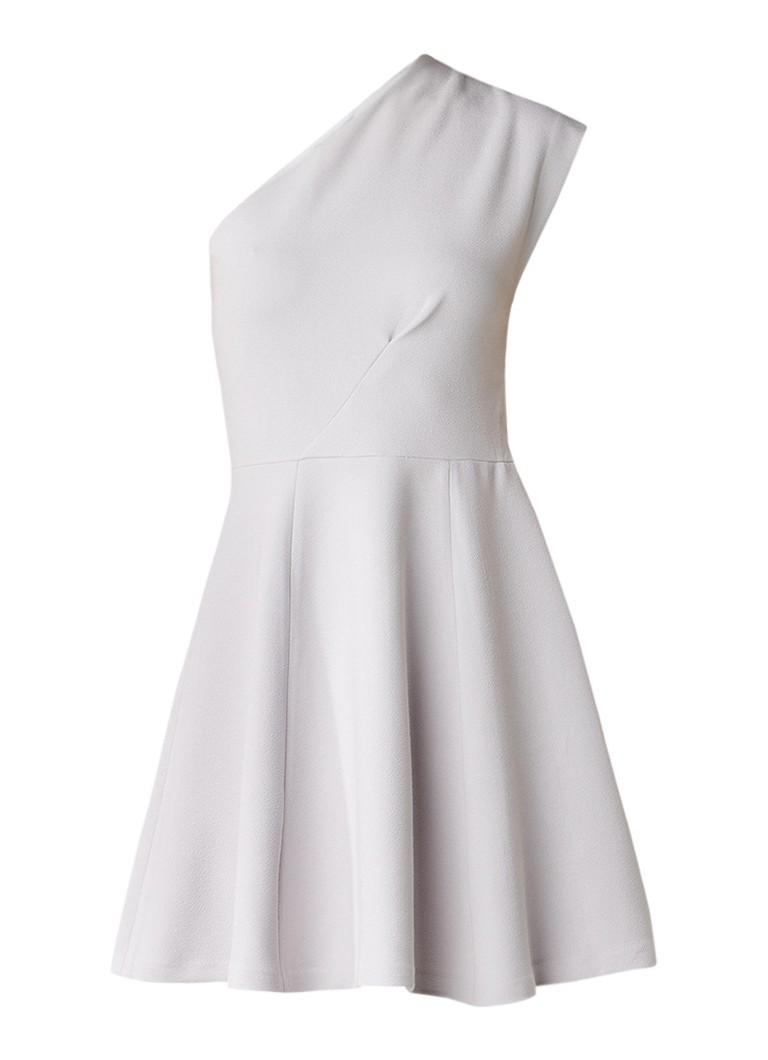 Reiss Keria one shoulder A-lijn jurk lichtgrijs
