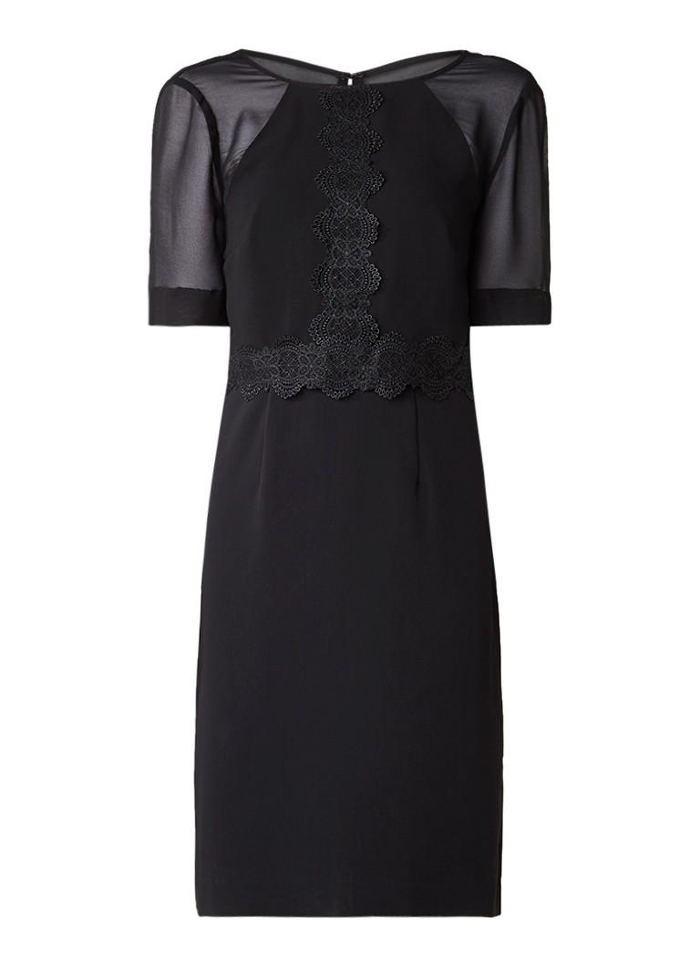 Reiss Shauna jurk met semi-transparante overlay zwart