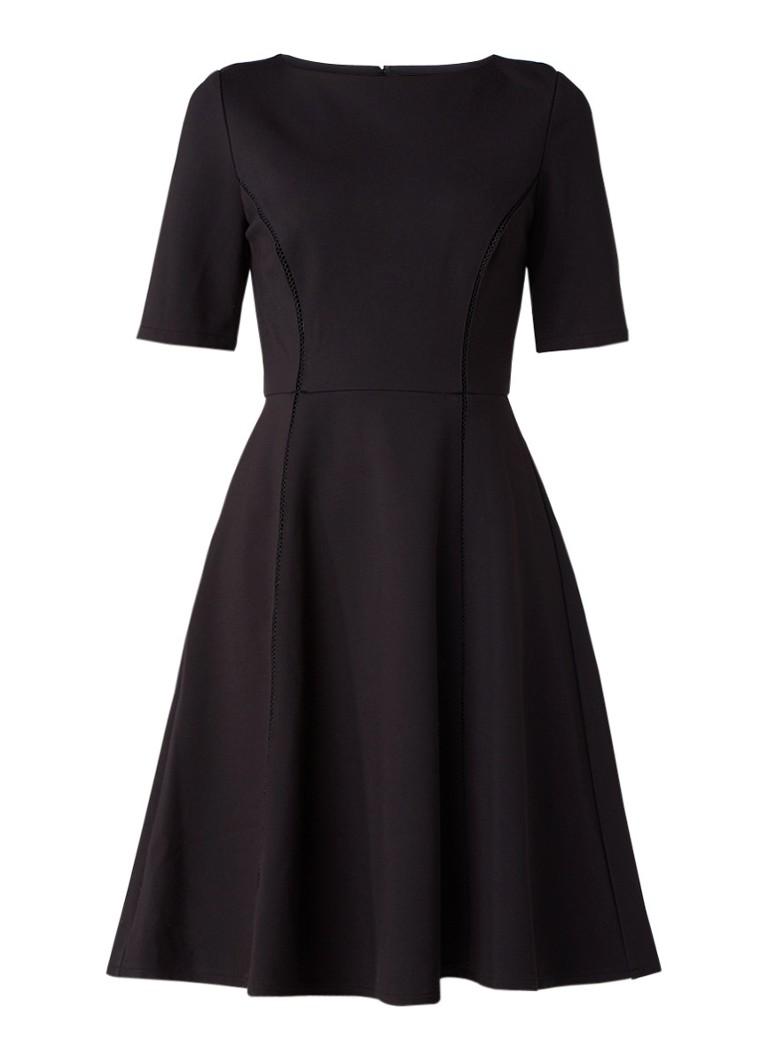 Reiss Tianna A-lijn jurk met opengewerkt detail zwart
