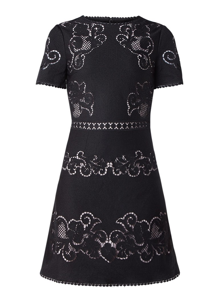 Reiss Tinley mini-jurk van broderie zwart
