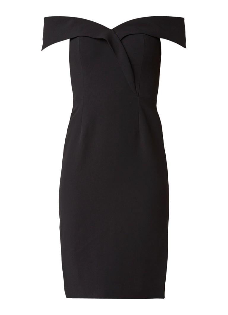 Reiss Haddi off-shoulder jurk met overslagdetail zwart