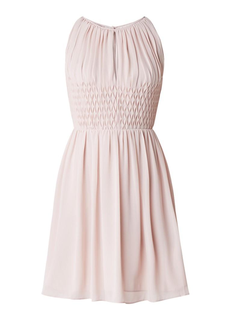Reiss Charlotte gesmockte A-lijn jurk lichtroze