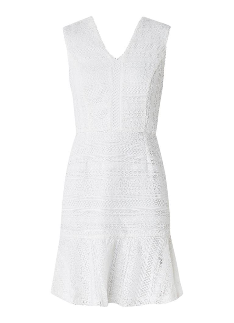 Reiss Alice uitlopende jurk van kant gebroken wit
