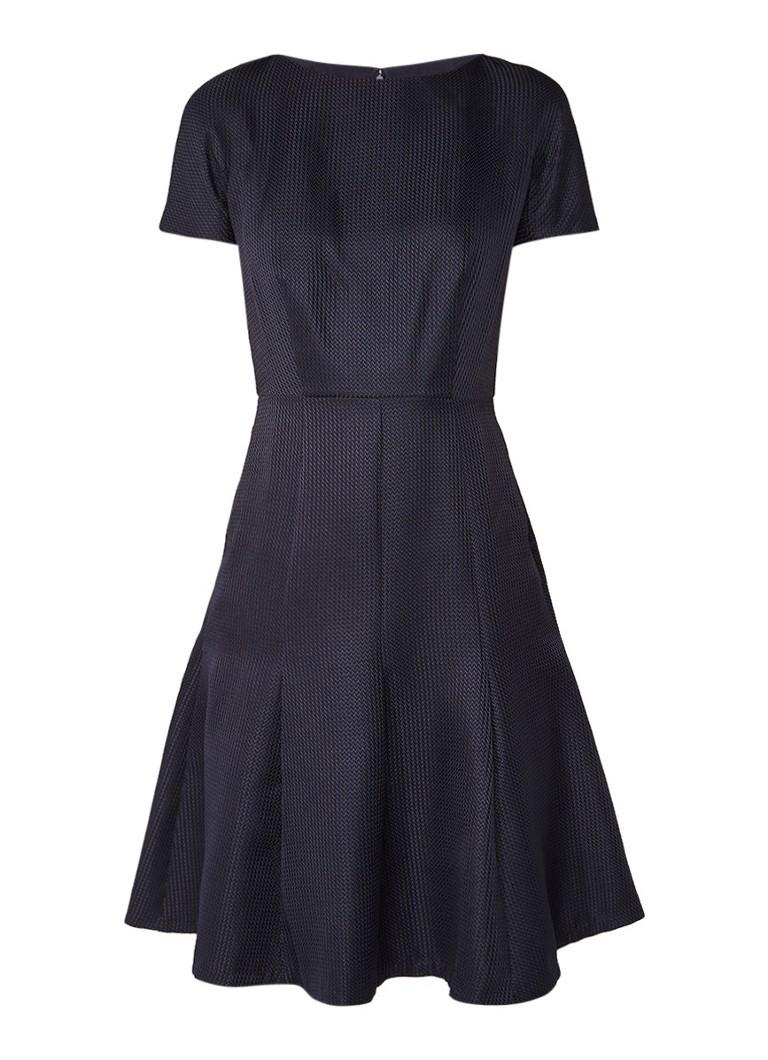 Reiss Hallie A-lijn jurk met ingeweven structuur donkerblauw