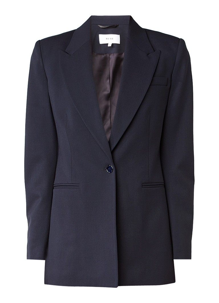 Blazers Reiss Leoni blazer van wol met gepunte revers Donkerblauw