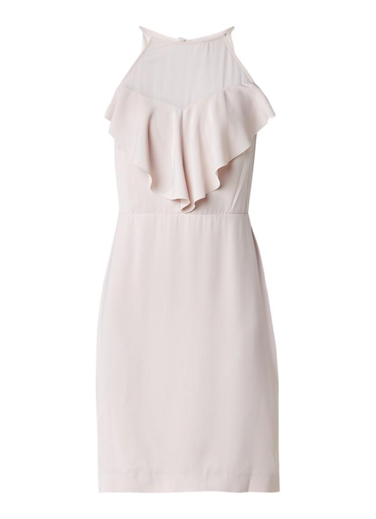 Reiss River jurk met semi-transparant detail en volant lichtroze