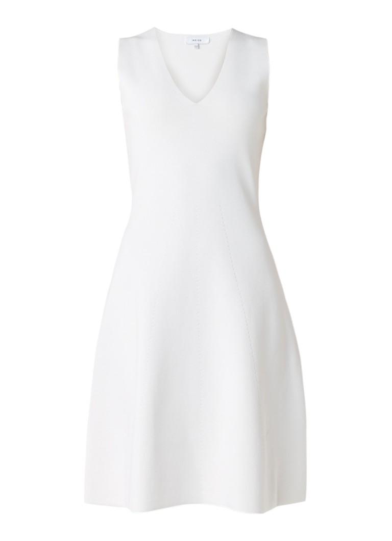 Reiss Michelle gebreide A-lijn jurk met structuur gebroken wit