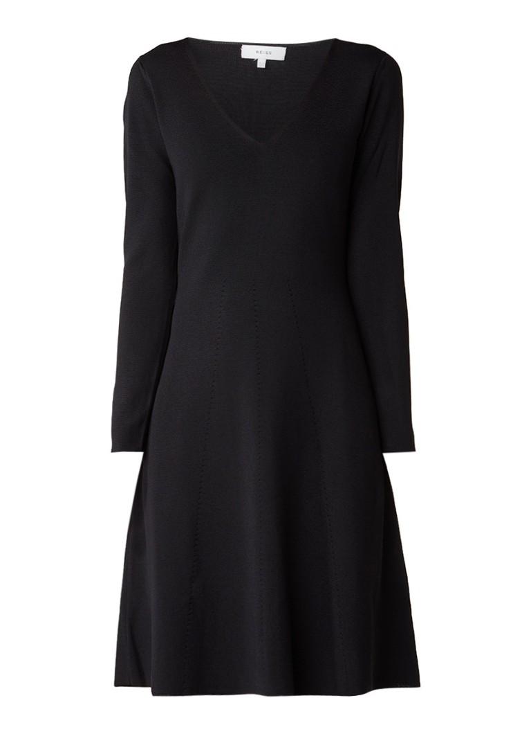 Reiss Emelia fijngebreide A-lijn jurk zwart