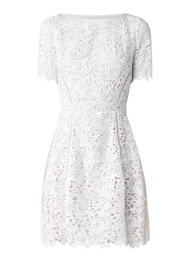 Reiss Eleania A-lijn jurk van kant gebroken wit