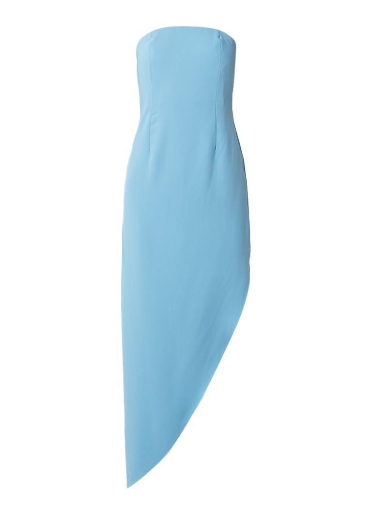Reiss Rima asymmetrische strapless midi-jurk aquablauw