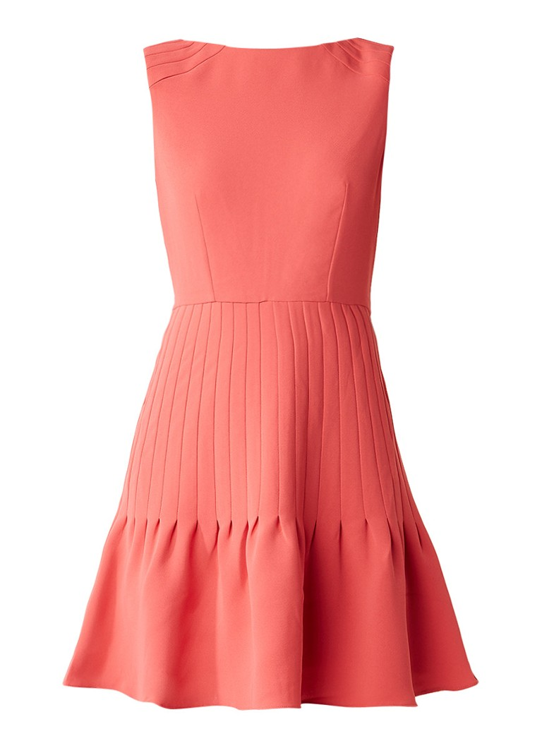 Reiss Marisa A-lijn jurk met plissé koraalrood