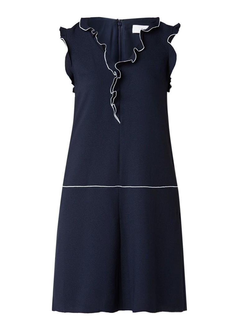 Reiss Vivienne midi-jurk met ruches donkerblauw