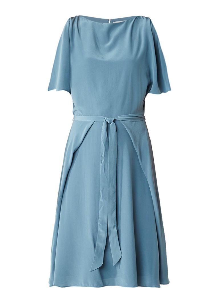 Reiss Mira cold shoulder jurk van zijde zeegroen