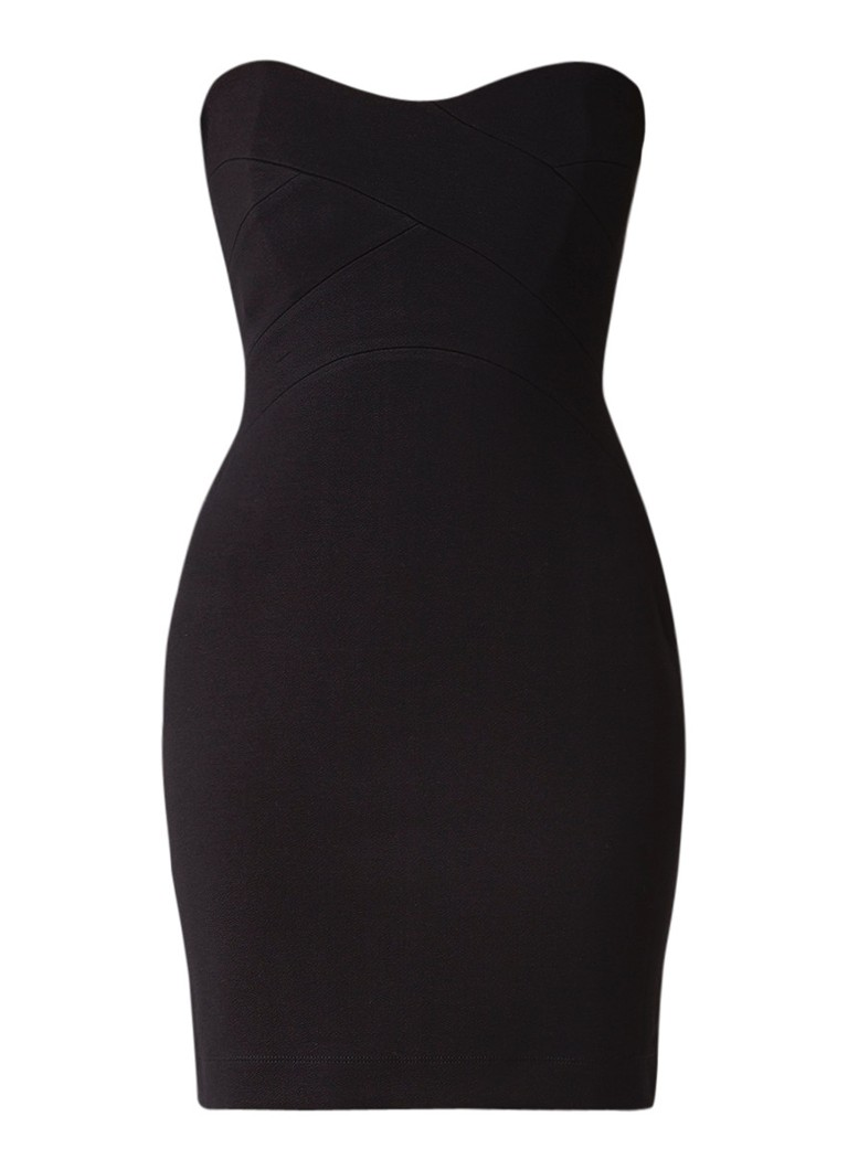 Reiss Miranda strapless mini jurk van jersey zwart