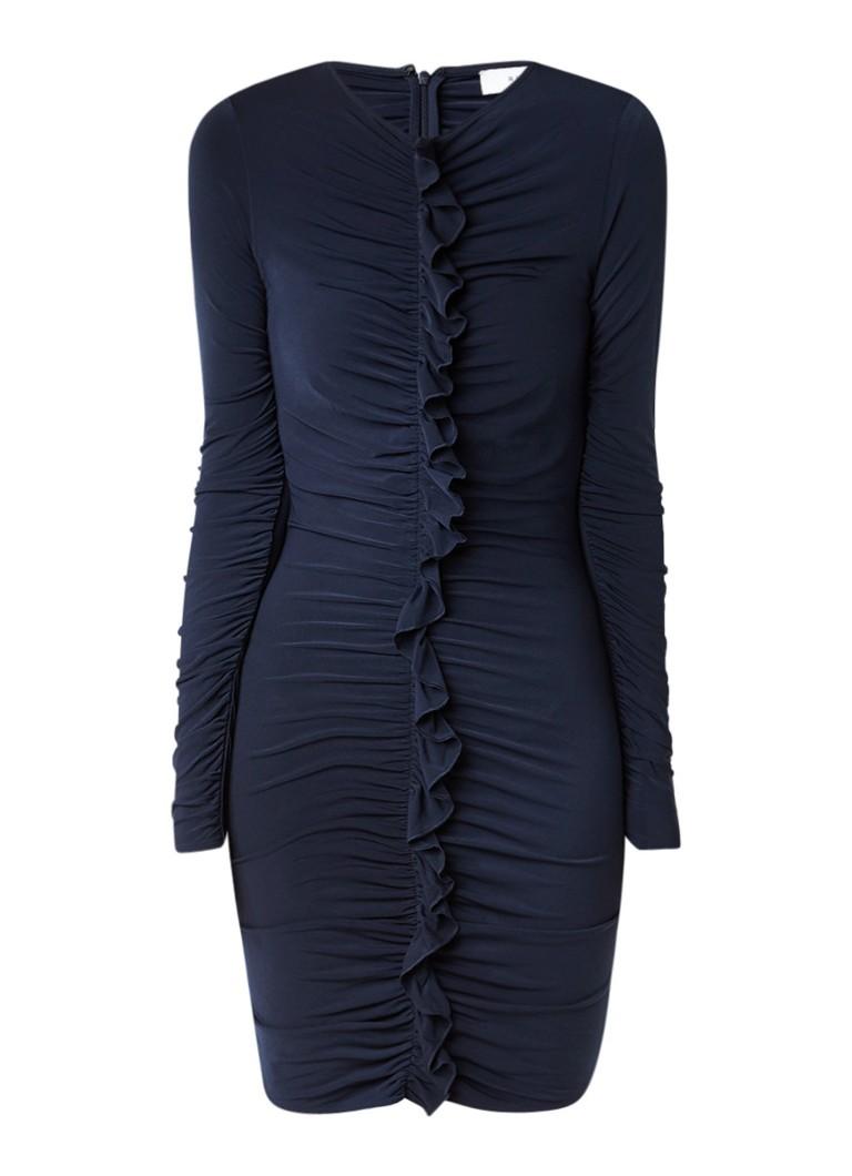 Reiss Harriet bodycon jurk met ruches donkerblauw