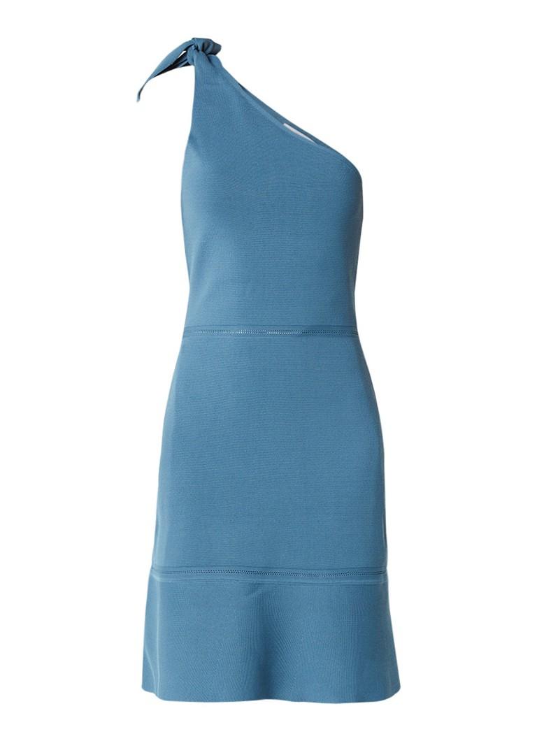 Reiss Beatrice one shoulder jurk met strikdetail blauwgrijs