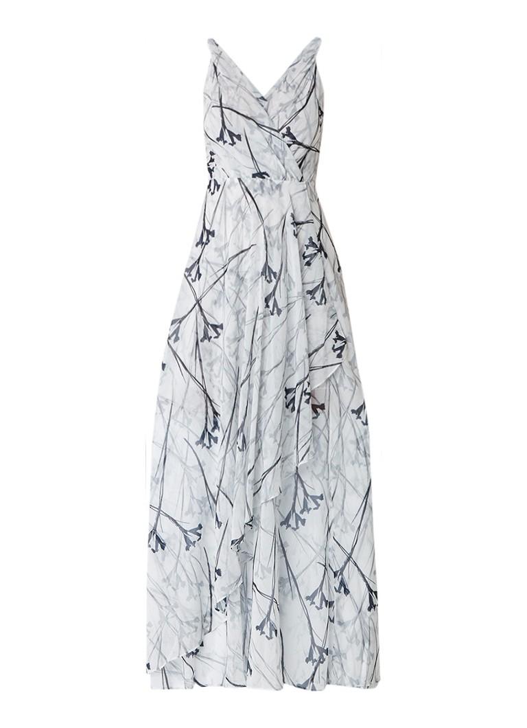Reiss Elle maxi-jurk met draperie en dessin zwart