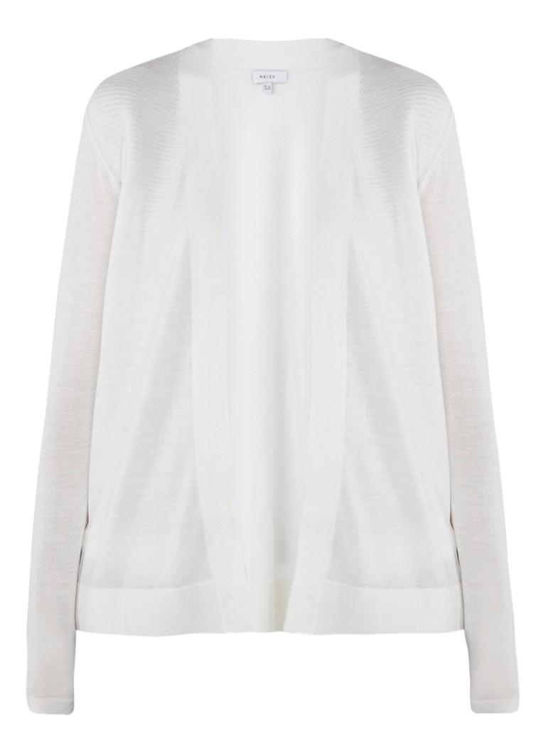 Truien en vesten Reiss Tanner vest van wol met inzet van zijde Gebroken wit