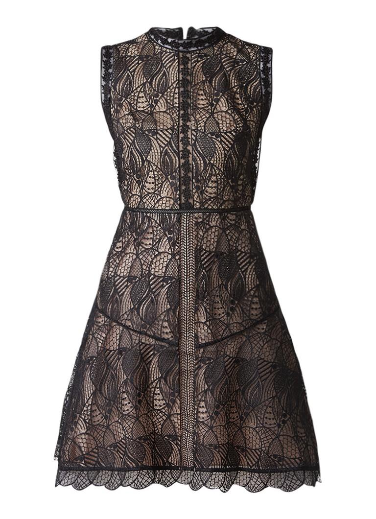 Reiss Tori A-lijn jurk met overlay van kant zwart