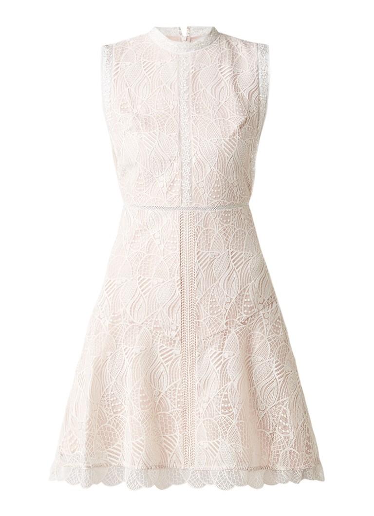 Reiss Tori A-lijn jurk met overlay van kant roze