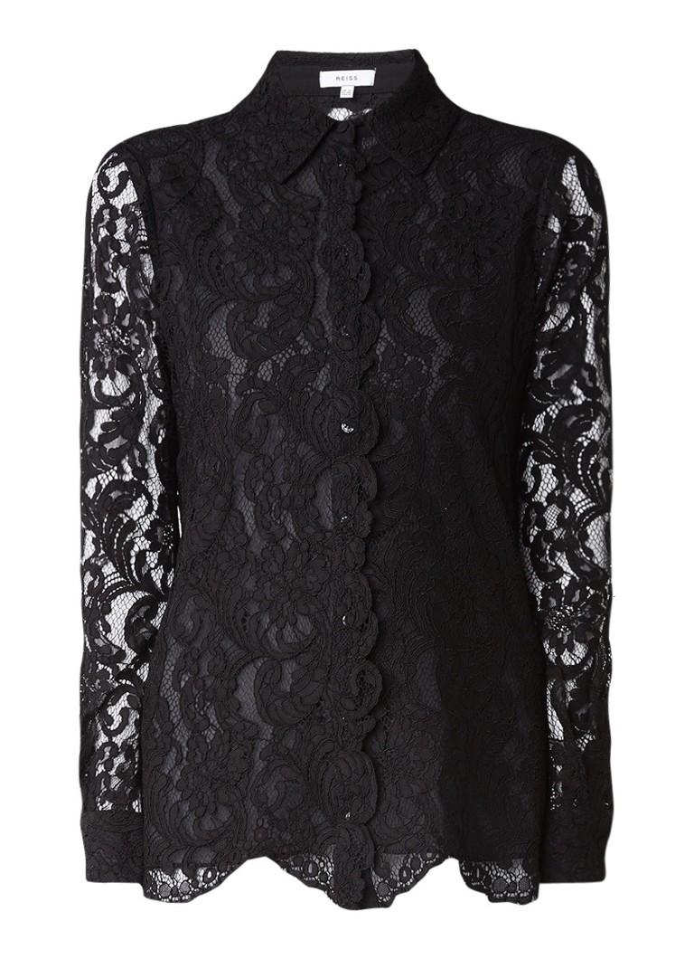 Reiss Yasi blouse van kant met lange mouw