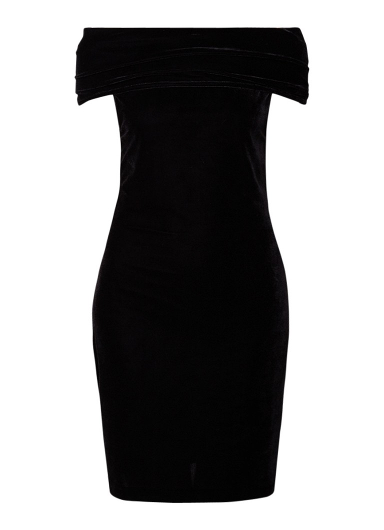Reiss Verity off shoulder mini-jurk van fluweel zwart