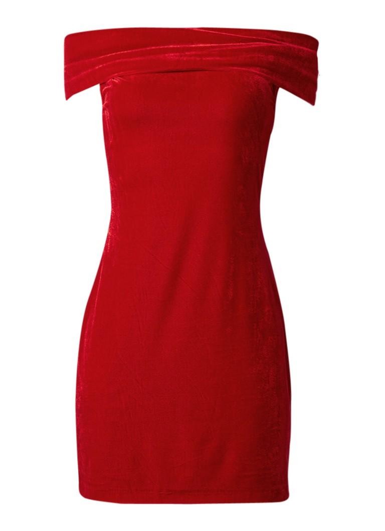 Reiss Verity off shoulder jurk van fluweel rood