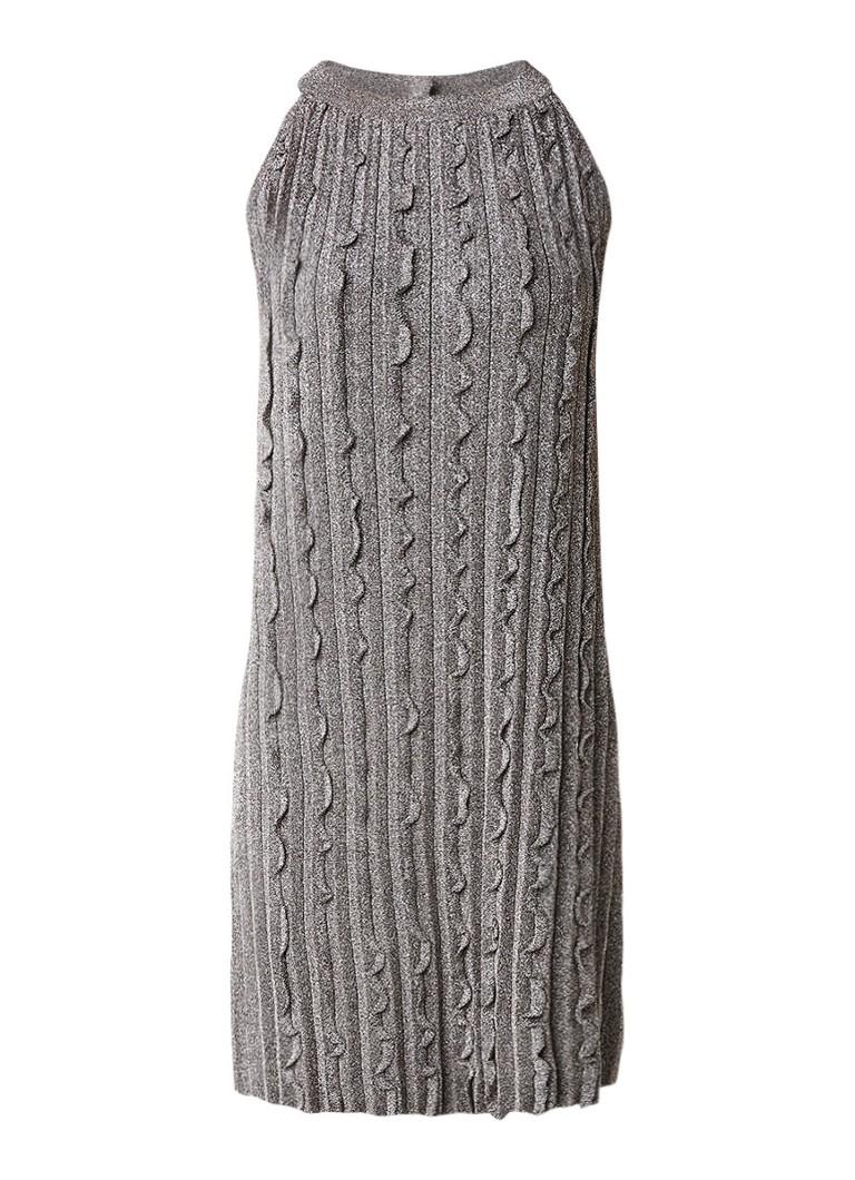 Reiss Ethol mouwloze jurk van lurex met ruches zilver