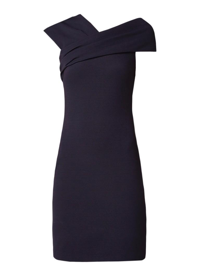 Reiss Cristiana midi-jurk met gekruiste halslijn donkerblauw