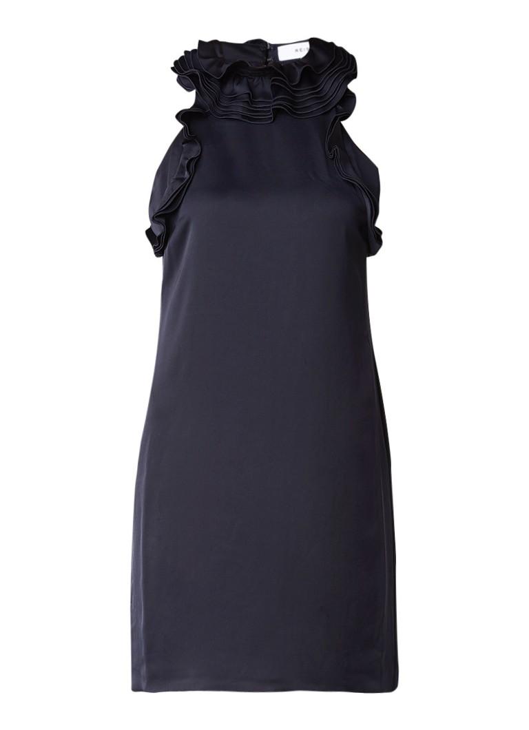 Reiss Jolina mouwloze jurk van satijn met ruches donkerblauw