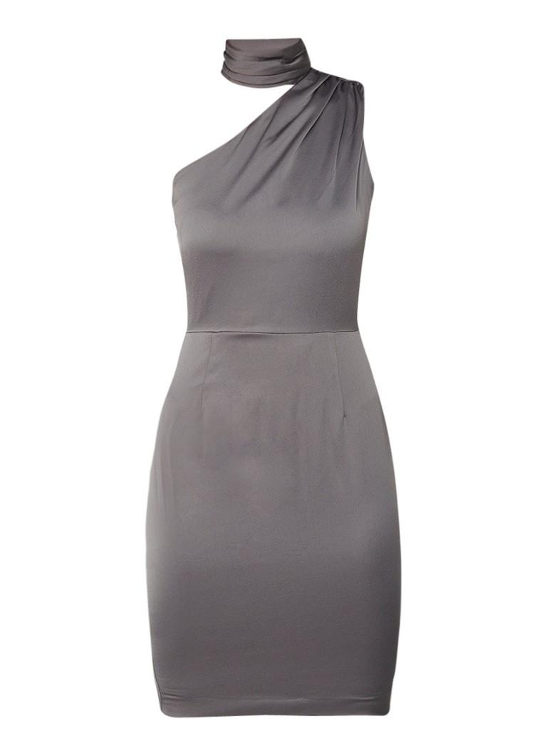 Reiss Ennie one shoulder jurk van satijn met strikdetail donkergrijs