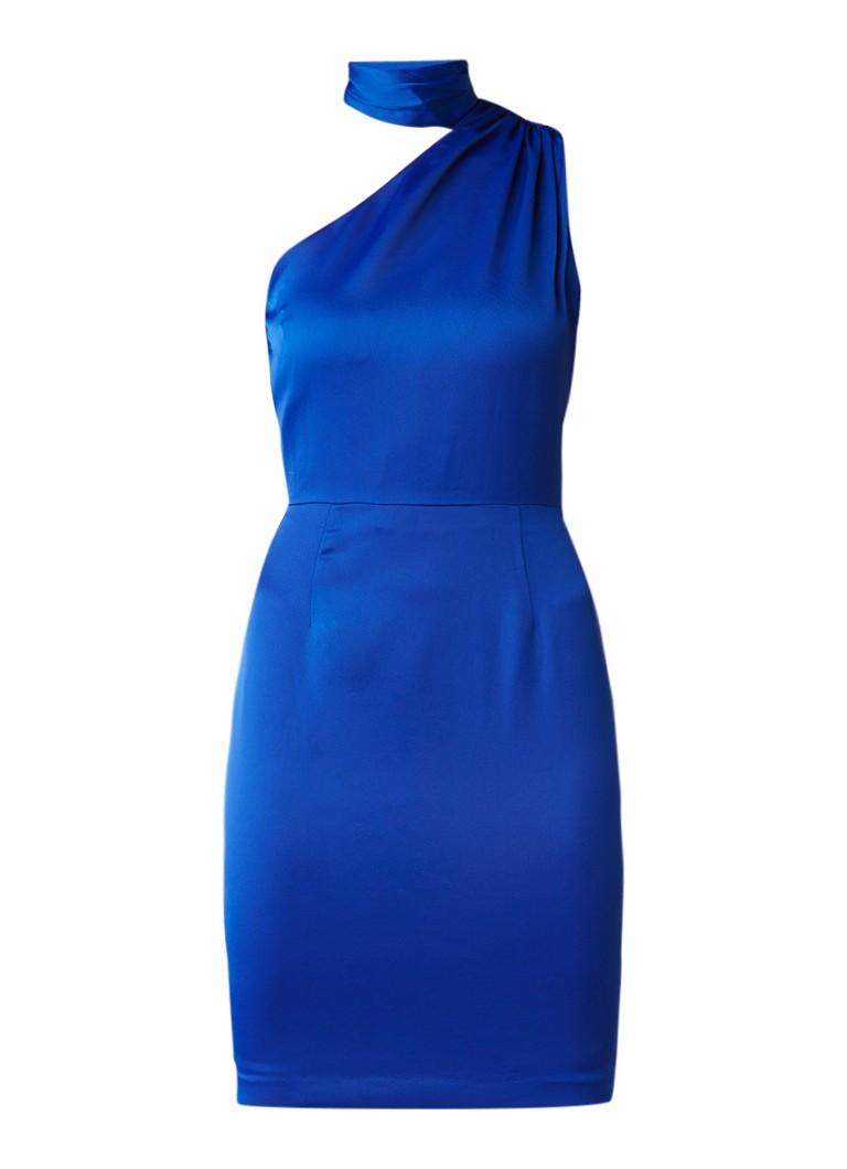 Reiss Ennie one shoulder jurk van crêpe met strikdetail blauw