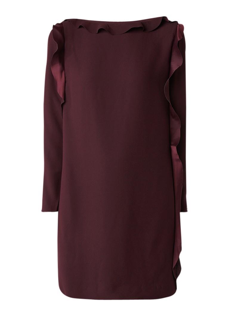 Reiss Neptune cold shoulder jurk met volant bordeauxrood