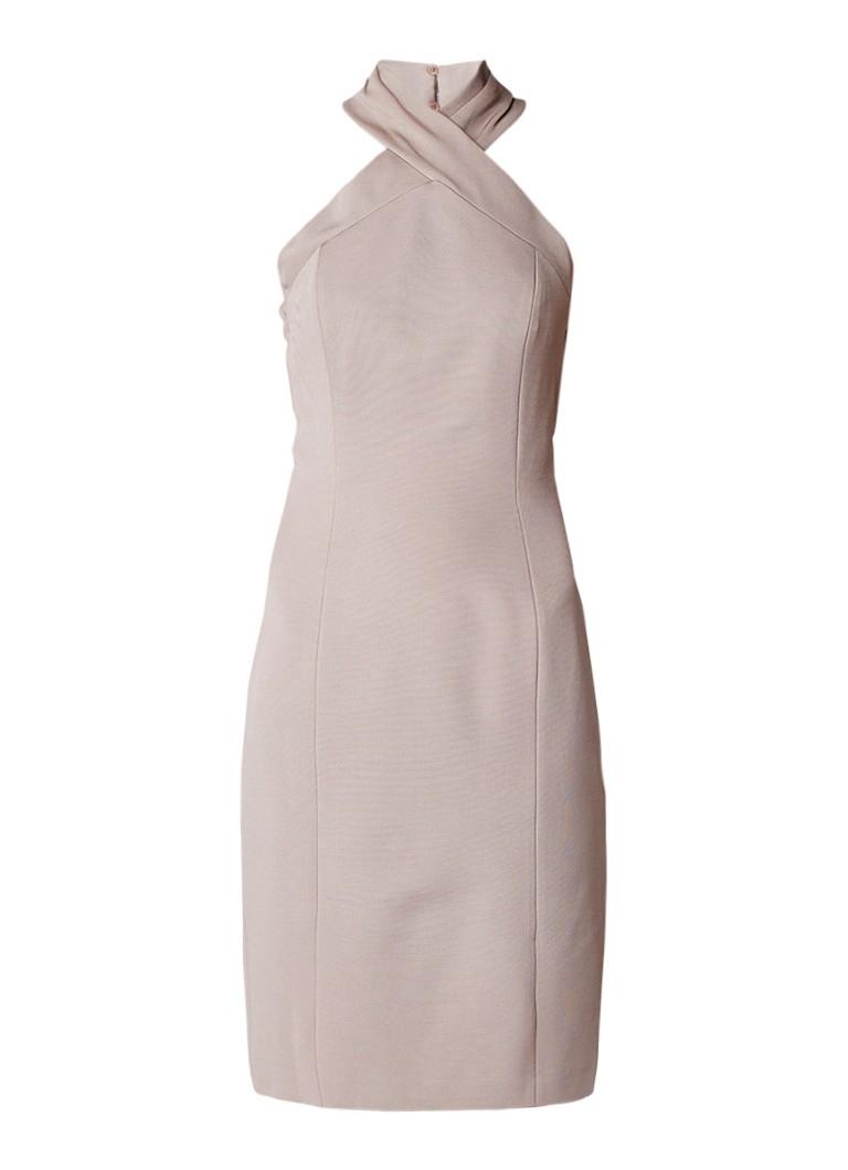 Reiss Zaira mini-jurk met gekruiste halslijn beige