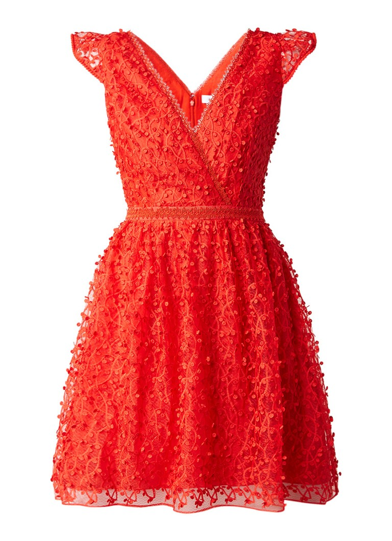 Reiss Abrianna A-lijn jurk van kant met kapmouw rood