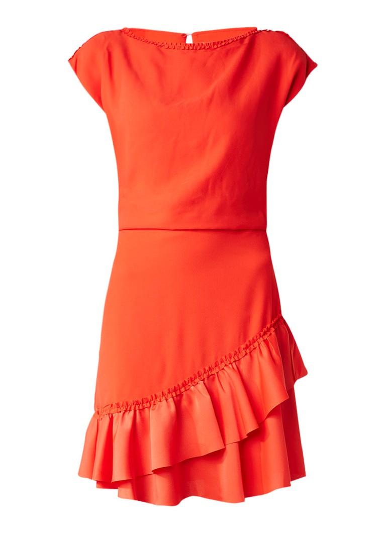 Reiss Cecilia asymmetrische jurk met ruches rood