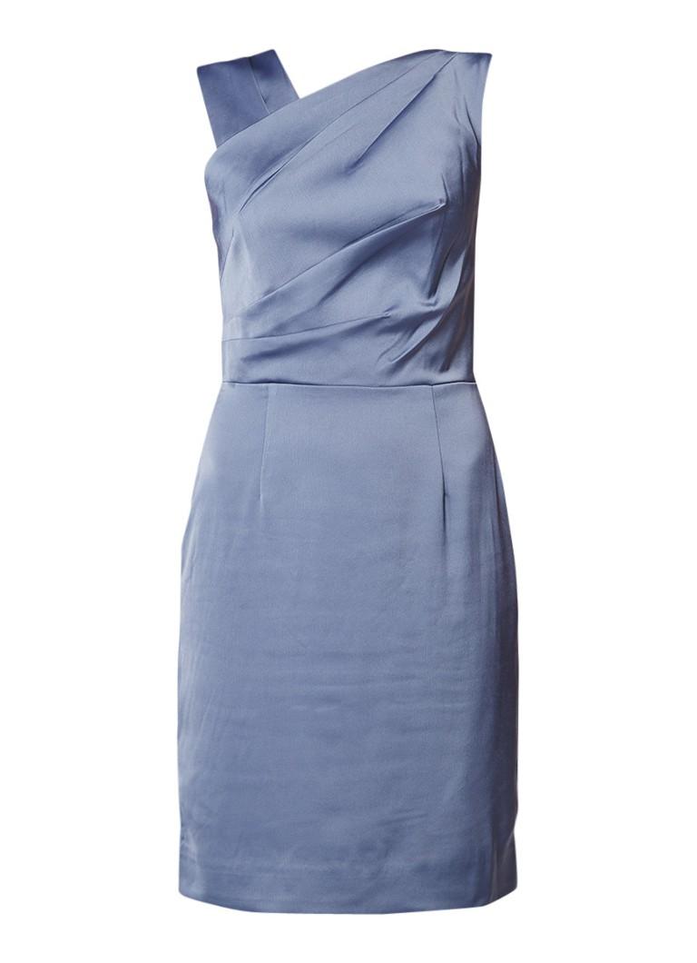 Reiss Tania midi-jurk met asymmetrische halslijn en plooidetail staalblauw