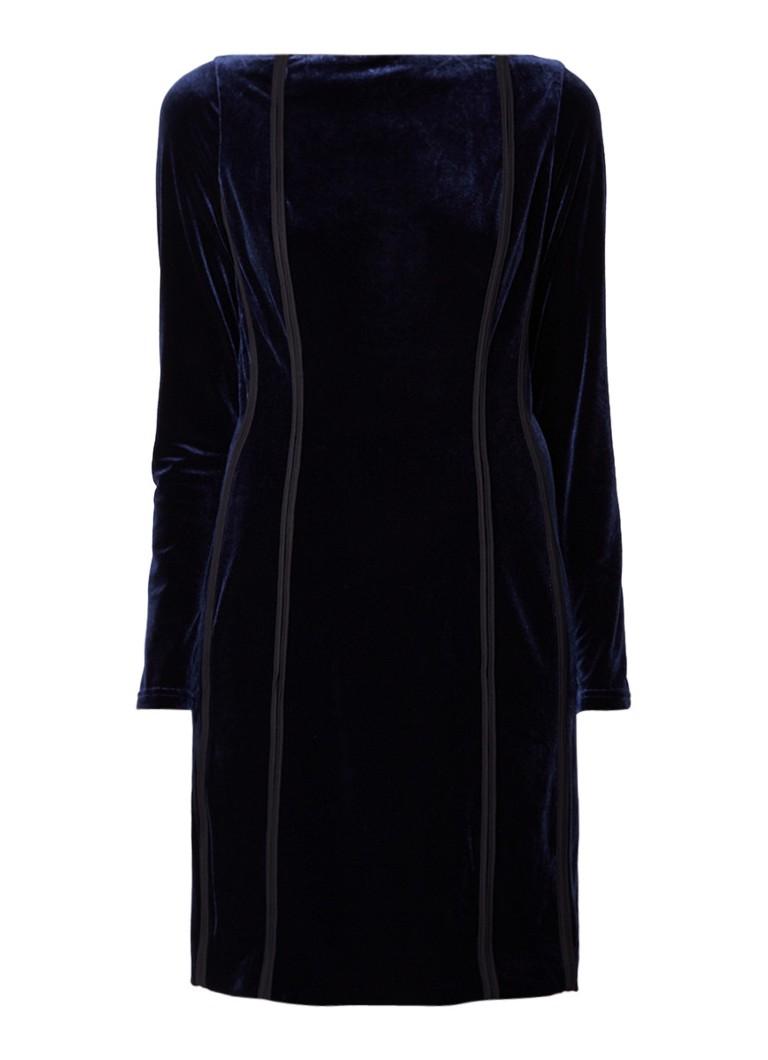 Reiss Xina mini-jurk van fluweel met cut-out detail donkerblauw