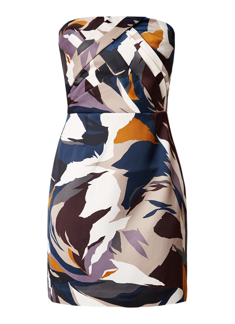 Reiss Juna strapless mini-jurk met draperie multicolor